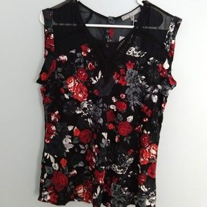 Black and Red Floral Blouse